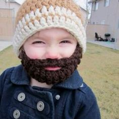 "Love this beard-knitted cap! Saw it on ""Peggy's"" Facebook page (the Discover card face) had to show you all!"