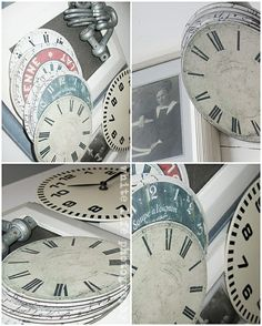rustic clocks made from repurposed cd's, the clock face can be printed at http://rustic-crafts.com/?p=4842