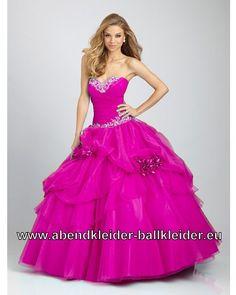 Bodenlanges Fuchsia Ballon Kleid Abendkleid Ballkleid