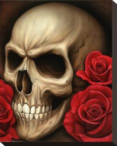 Lowbrow Art Company Spider's Skull art print by artist Spider. All art prints are printed are printed on heavy weight, semi gloss cover stock. Stretched Canvas Prints, Canvas Art Prints, Framed Art Prints, Fine Art Prints, Skull Tattoos, Rose Tattoos, Tattoo Roses, Horror Tattoos, Head Tattoos