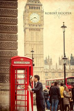 Quirky vintage London pre-wedding photography with red telephone box and Big Ben