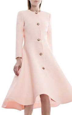 This **Esme Vie** coat features a round neckline, long sleeves, front flower pearl button placket, trapeze line silhouette, and a below the knee hemline. Coat Dress, Dress Skirt, Couture Dresses, Fashion Dresses, Day Party Outfits, Spring Summer, Full Skirts, Royal Fashion, Evening Dresses