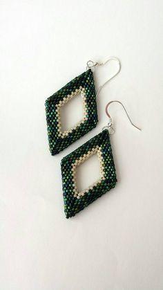 Geometric 3D beadwoven earrings on Sterling Silver by BeadedSky