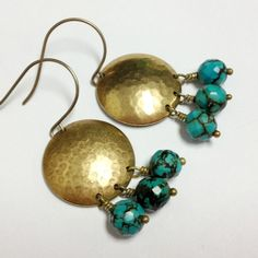 These turquoise earrings created by Jewelry By Carmal are made of: turquoise nugget gemstones, brass: connectors, ear wires and findings. Each of these earrings measures 2 inches in length. Every package is gift wrapped - even if its for you! We also offer free standard shipping