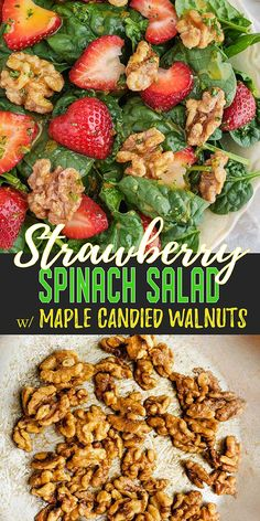 A fresh spinach salad recipe layered with strawberries and maple candied walnuts. Served with an Orange-Dijon dressing, this side dish completes any meal. Spinach Salad Recipes, Best Salad Recipes, Chicken Salad Recipes, Vegetarian Recipes, Healthy Recipes, Fruit Recipes, Candied Walnuts For Salad, Spinach Strawberry Salad, Strawberry Walnut Salad