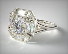 53064 engagement rings, vintage, 14k white gold baguette milgrain halo engagement ring item - Mobile