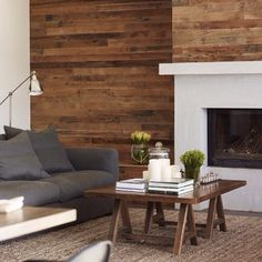 wood slat feature wall