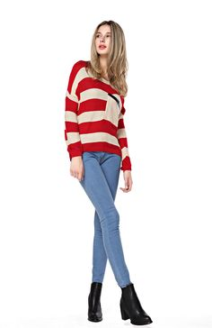 Women s Stripes Pattern Round Neck Red Sweater with Front Pocket 4c4899ace2dc
