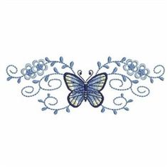 Wind Bell Embroidery Embroidery Design: Elegant Butterfly Borders 1.40 inches H x 3.81 inches W
