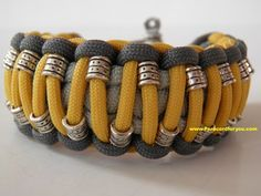 King Cobra Paracord Bracelet with Silver Tubes and adjustable shackle by Paracordforyou on ArtFire