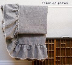 LINEN THROWwith frayed ruffleLilly by debbiesporch on Etsy, $110.00