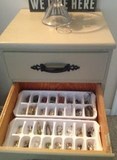 de bakjes om ijsklontjes in te maken gebruiken voor het opbergen en sorteren van je oorbellen