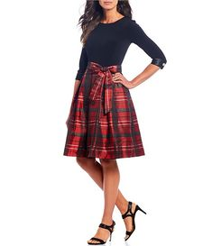 Leslie Fay Plaid Print Bow Waist Jacquard A-Line Party Dress | Dillard's