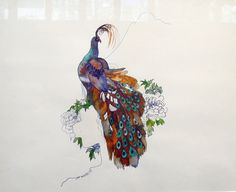 Joni Mitchell's 1967 watercolor of a peacock