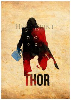 Thor,avengers,Watercolor print, illustration,Superhero,Wall Art, Print Poster,Decorative Art,Comic Wall Art