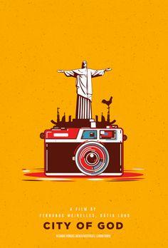 City of God Minimal Movie Poster by Viraj Nemlekar Famous Movie Posters, Minimal Movie Posters, Cinema Posters, Movie Poster Art, Cool Posters, Film Posters, Geeks, City Of God, Poster City