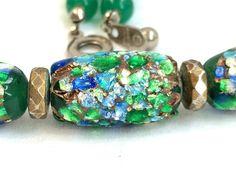 Vintage Unique Jade Necklace Button Snap Glass by DejaVuVintiques