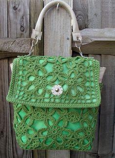 Rococo Handbags - green crochet bag with cream leather handle