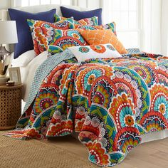 Give your bedroom a lively update with the Levtex Home Serendipity Reversible Quilt Set. Decked out in vibrant colors and playful designs on both sides, this quilt set offers 2 different looks that will add cheer to every morning and night. King Quilt Sets, Queen Quilt, Girls Bedroom, Bedroom Decor, Bedrooms, Master Bedroom, Bedroom Ideas, King Pillows, Pillow Shams