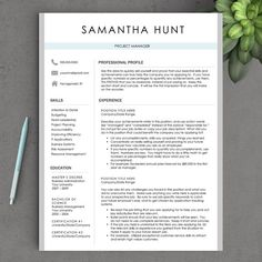 Professional Resume Template for Word: THE SAMANTHA ✓ Instant Download CV Template ✓ US Letter & A4 Templates included ✓ 1, 2, or 3 Page