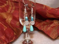 Genuine turquoise  earrings w/ Mexican opals by TheEccentricBead