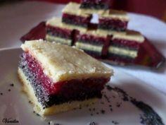 """Képtalálat a következőre: """"mákos meggyes pudingos süti"""" Romanian Desserts, Romanian Food, Cake Bars, Food Cakes, Something Sweet, Cake Recipes, Bakery, Sweet Treats, Cheesecake"""