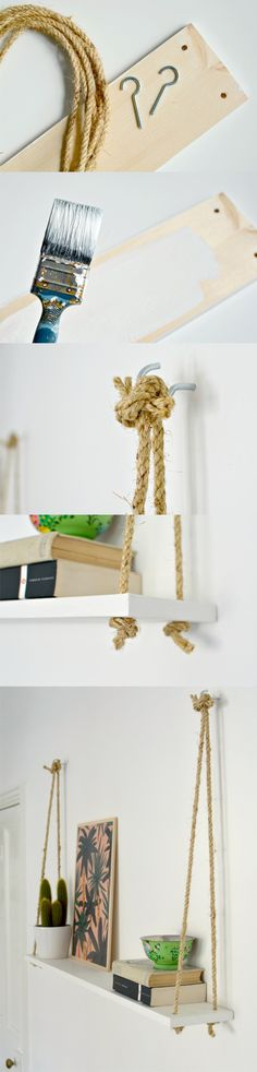 Estantería con cuerdas y una tabla / Via www.burkatron.com