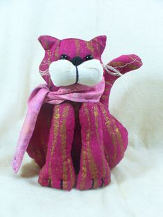 Fuchsia and Gold Cat with Pink Scarf, Stuffed Animal - pinned by pin4etsy.com