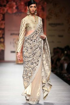 Copper beige sequin sari with brocade blouse available only at Pernia's Pop Up Shop.