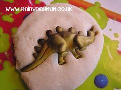 Creating Salt Dough Dinosaur Fossils- 1/2 Cup of Salt 1/2 Cup of water 1 Cup all purpose (plain Flour)