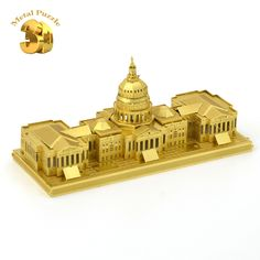 3D Metal Puzzles Miniature Model DIY Jigsaws Building Model Gold World-famous Buildings Intelligence Toys United States Capitol