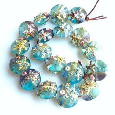 Lampwork Glass Starfish Beads 20mm  6 pieces by SurfSeaGlass, $7.50