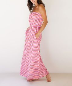 Another great find on #zulily! Red & Pink Strapless Maxi Dress - Women by Tanya Scheer #zulilyfinds