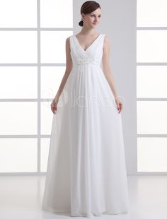 47c8a7d32a19 Ivory Sheath V-Neck Beading Chiffon Wedding Dress V Neck Wedding Dress
