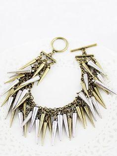 Retro Gold Spike Link Bracelet #sheinside