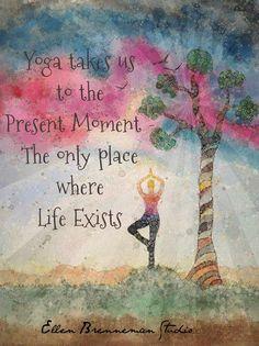 Yoga pose illustration present moment art print by Ellen Brenneman - Yoga takes us to the present moment – the only place where life exists. Print yoga art Imágenes e - Pranayama, Yoga Kundalini, Yin Yoga, Yoga Meditation, Chakra Yoga, Namaste Yoga, Ashtanga Yoga, Sudarshan Kriya, Yoga Inspiration