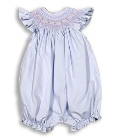 Hug Me First Blue Smocked Audry Romper - Infant | zulily