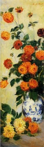 """Dahlias"" - Claude Monet, (1883), Oil on Canvas."