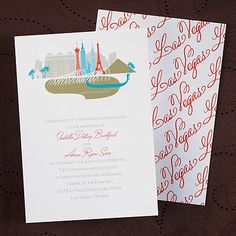Las Vegas Cityscape Wedding Invitation or Wedding Announcement! Printed with your custom wording. http://partyblock.carlsoncraft.com/Wedding/Wedding-Invitations/3148-KE22426LV-Cityscape-Invitation--Las-Vegas.pro