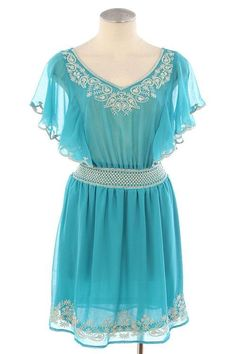 EMBROIDERY DETAILED CHIFFON DRESS