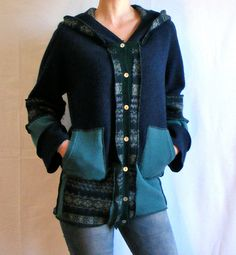 Recycled Wool Sweater, Women's Button down Hoodie, Size Medium/Large, Upcycled Greens and Blues. $48.00, via Etsy.
