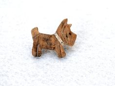 Wooden Hand Carved Scottie Dog Vintage Pin by LynnsBeadsNThings, $12.00