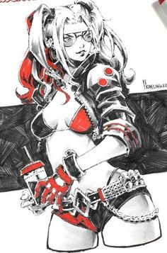 Harley Comic Book Girl, Comic Art Girls, Comics Girls, Comic Books Art, Harley Quinn Et Le Joker, Harley Quinn Drawing, Harley Quinn Cosplay, Meninas Comic Art, Harley Queen