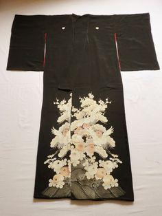 Japanese Antique Kimono Silk Black Tomesode Wave Flower Crane P022324   eBay