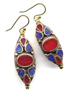 Nepal Earrings - Lapis Lazuli and  Coral Inlay, 18K gold filled  ear  Wire - Nepal Jewelry by AnnaArt72