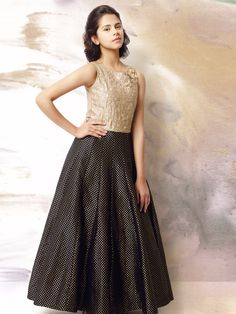 G3 Exclusive Black & Golden Silk Party Wear Gown #Gown