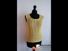 How to crochet easy yellow top pattern free tutorial para verano by marifu6a - YouTube
