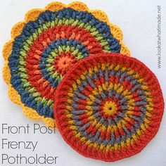 This crochet potholder would also work really well as a trivet. The use of front post stitches yields a lovely, dense fabric with tons of texture.