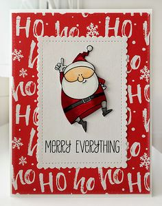 Card christmas santa MFT Jingle all the Way Die-namics Merry Everything, MFT mini scalloped stitched rectangle stax Die-namics #mftstamps - JKE