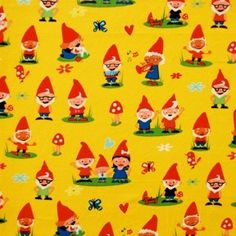 gnoming around - michael miller Backgrounds Wallpapers, Michael Miller Fabric, Novelty Fabric, Fabric Remnants, Woodland Party, Kawaii Shop, Gnome Garden, Pattern Making, Vintage Fabrics